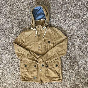 Caqui Brown hoodie long sleeve jacket